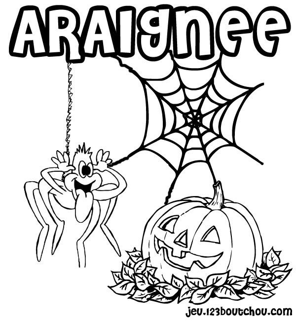 Coloriage Araignée Rigolote Et Citrouille Halloween dedans Dessin Araignée Facile