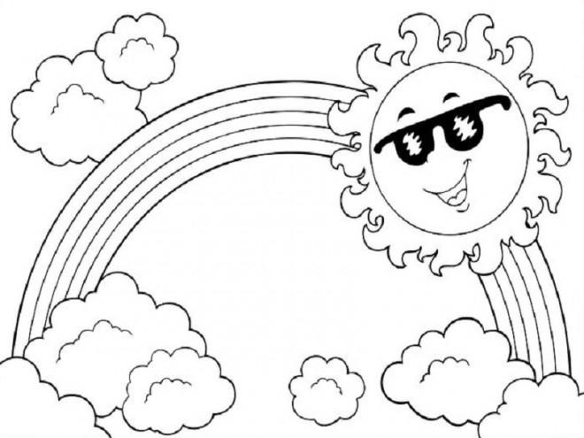 Coloriage Arc-En-Ciel Et Le Soleil Dessin Gratuit À Imprimer encequiconcerne Arc En Ciel A Colorier