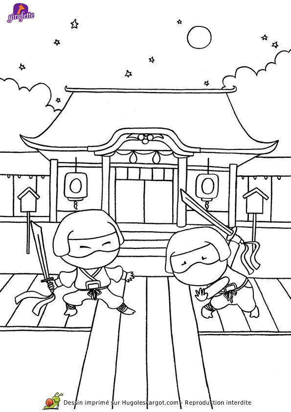 Coloriage Asie Samourai, Page 12 Sur 13 Sur Hugolescargot à Dessin Japonais A Colorier