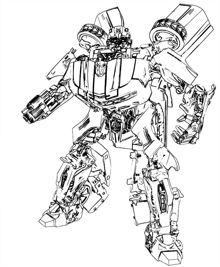Coloriage Autobot Bumblebee avec Dessin De Transformers