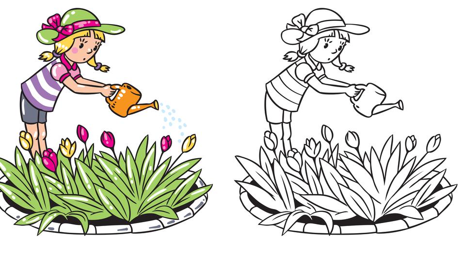 Coloriage Avec Modèle : La Jardinière tout Modèle De Coloriage À Imprimer