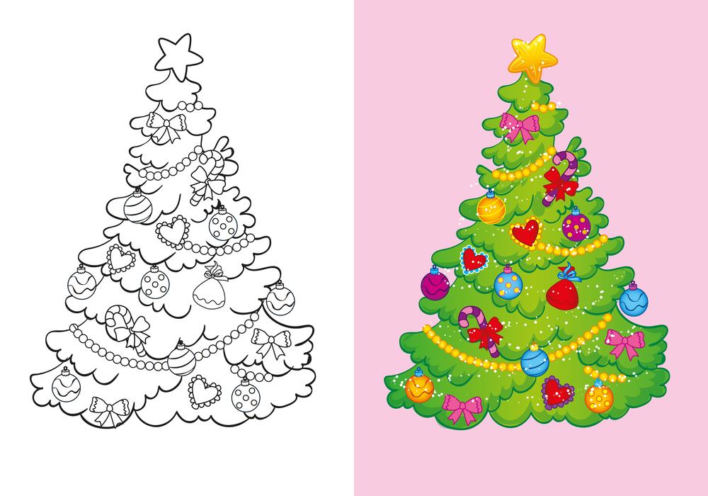Coloriage Avec Modèle : Un Sapin De Noël Décoré dedans Coloriage De Sapin De Noel A Imprimer Gratuit
