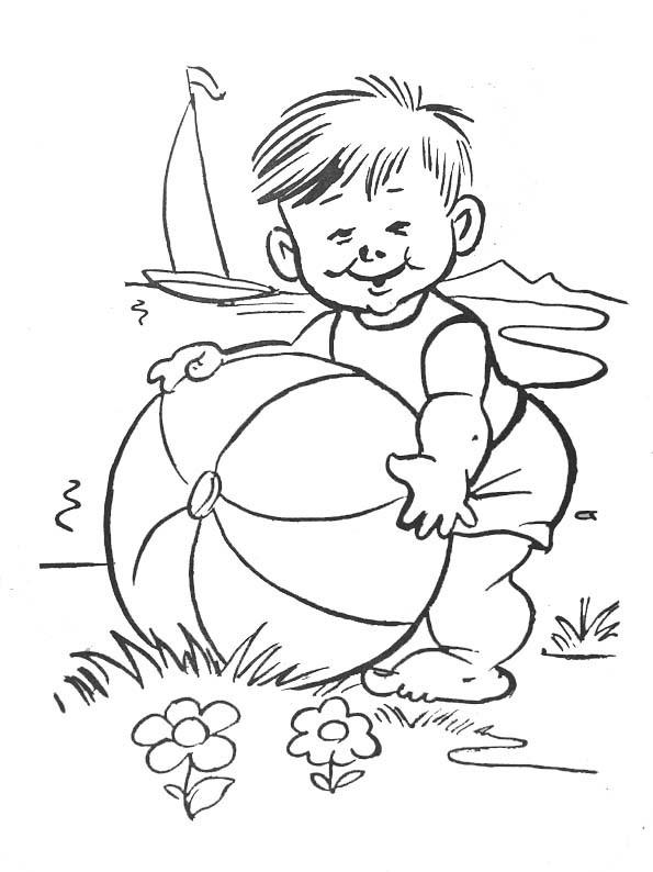 Coloriage Ballon De Plage En Été Dessin Gratuit À Imprimer à Coloriage Été Maternelle