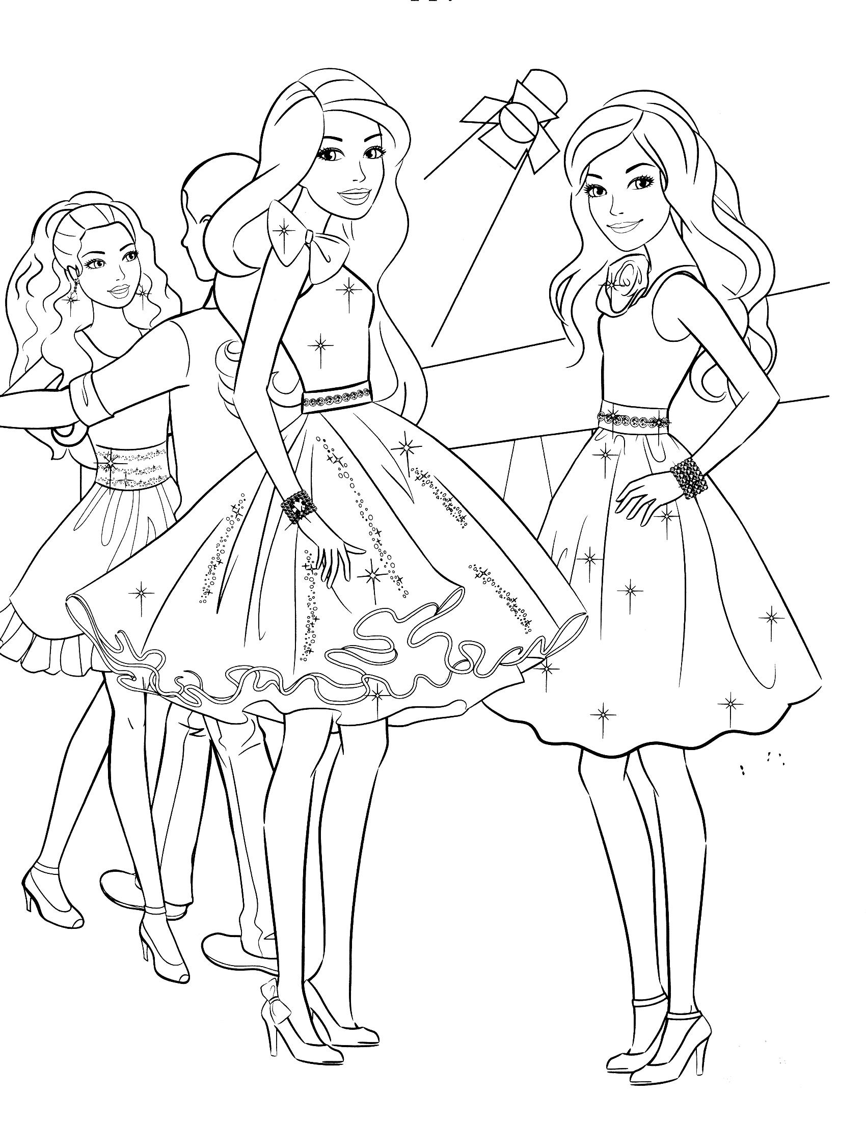 Coloriage Barbie Au Bal À Imprimer à Coloriage Barbie