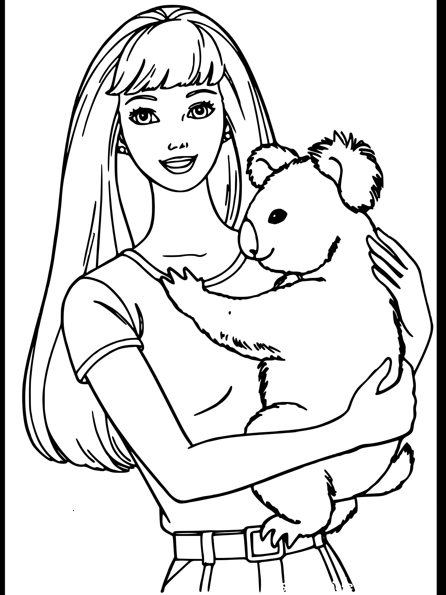 Coloriage Barbie Et Koala À Imprimer pour Coloriage Barbie Fait Du Surf