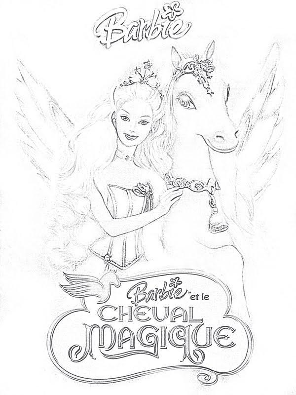 Coloriage Barbie Et Le Cheval Magique Dessin Gratuit À serapportantà Dessin De Barbie Facile