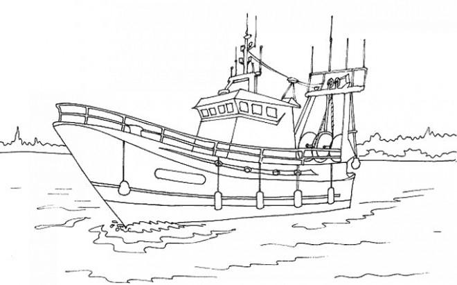 Coloriage Bateau De Pêche Dans L'Eau Dessin Gratuit À Imprimer destiné Dessiner Un Bateau De Peche