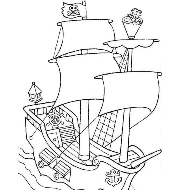 Coloriage Bateau De Pirate | Coloriage Bateau, Coloriage pour Drapeau Pirate Coloriage