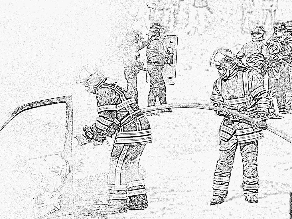 Coloriage Binome Extinction Feu De Vl Floute À Imprimer avec Dessin Sapeur Pompier