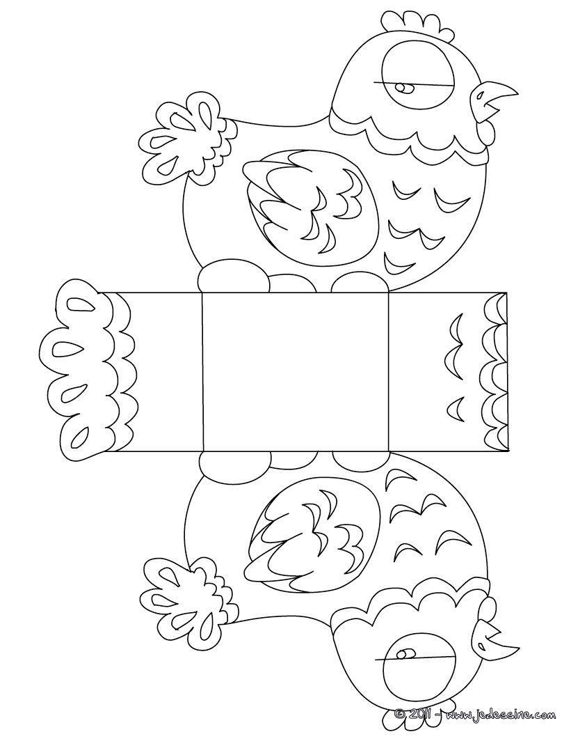 Coloriage : Boîte Pâques Poule À Colorier Et À Découper destiné Dessin Pour Paques