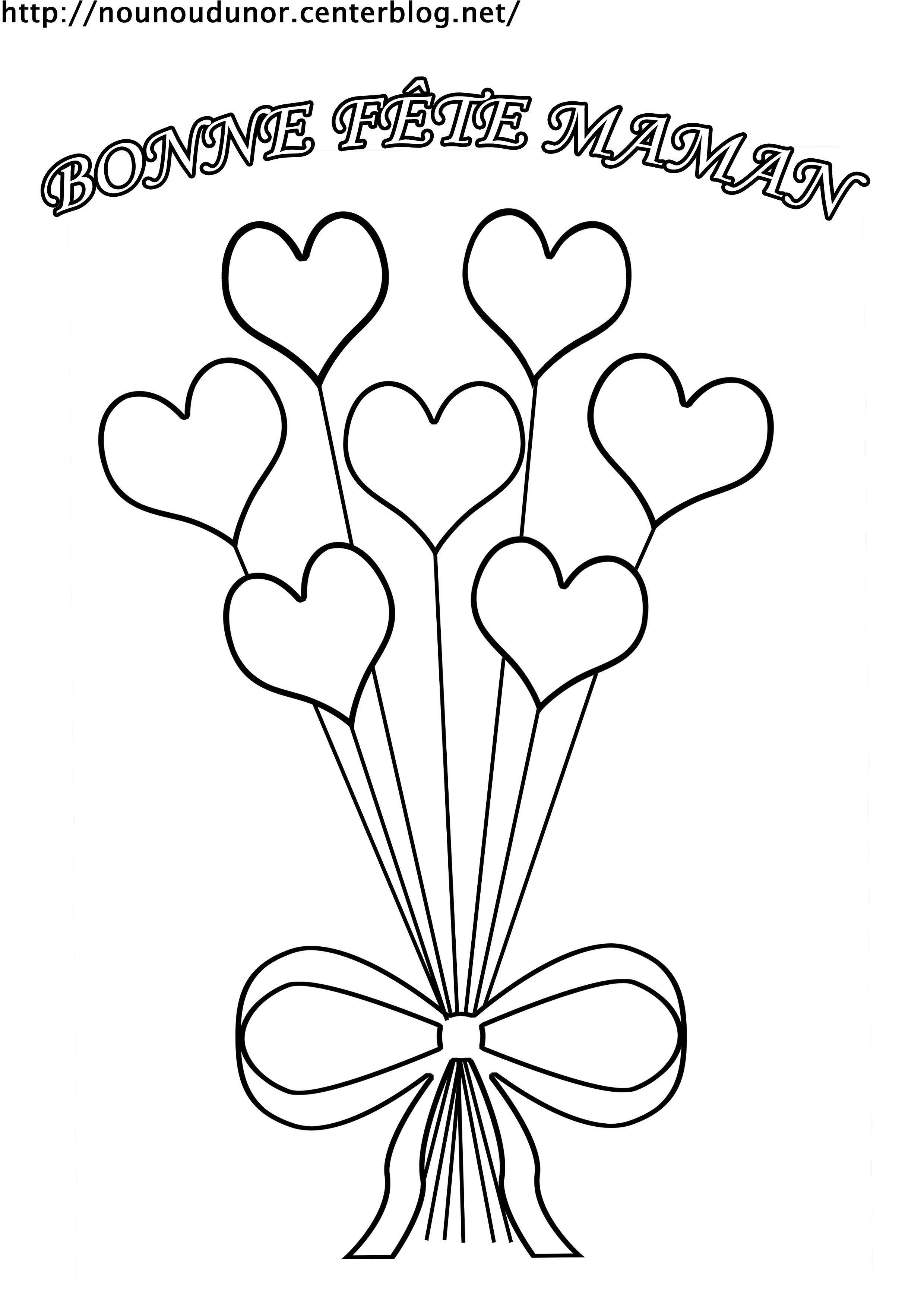 Coloriage Bouquet De Coeur Bonne Fête Maman pour Fete Des Meres Dessin