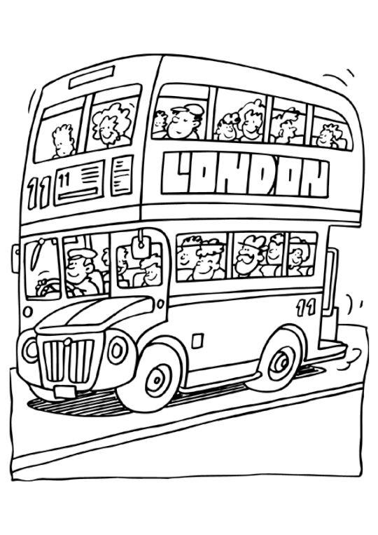 Coloriage Bus Anglais | Coloriage, Bus Anglais tout Dessin Bus Anglais