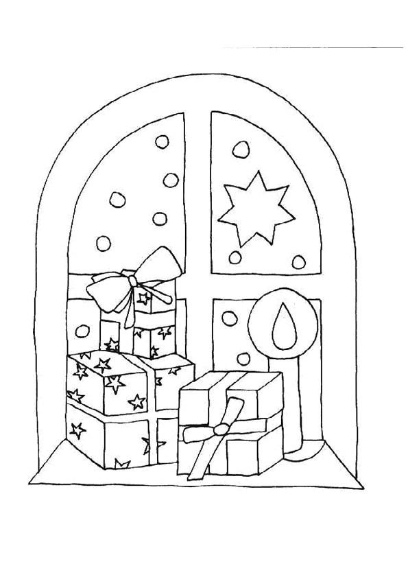 Coloriage Cadeaux De Noël Sur La Fenêtre destiné Dessin Cadeau De Noel