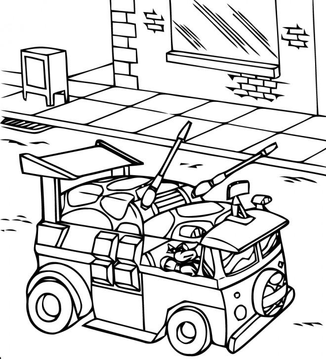 Coloriage Camion Des Tortues Ninja Dessin Gratuit À Imprimer à Coloriage Tortue Ninja A Imprimer Gratuit