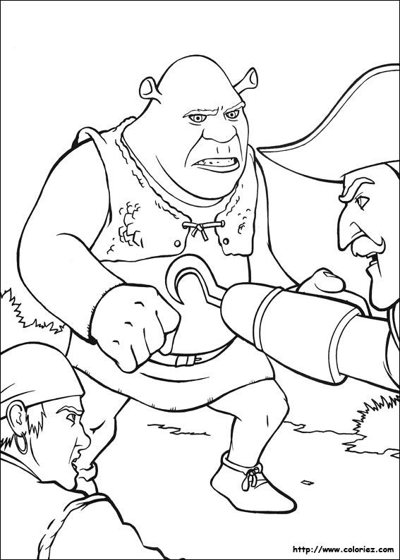 Coloriage - Capitaine Crochet Attaque Shrek à Coloriage Capitaine Crochet A Imprimer Gratuit
