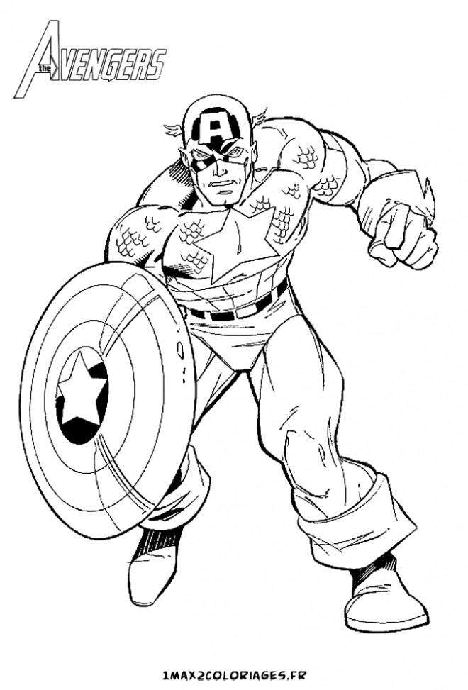 Coloriage Captain America À Colorier Dessin Gratuit À Imprimer serapportantà Jeux De Capitaine America Gratuit