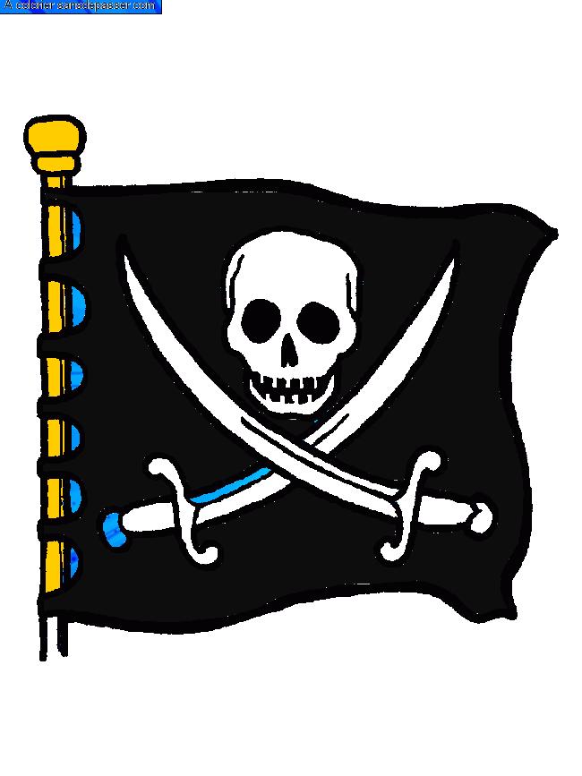 Coloriage Carte Au Trésor - Sans Dépasser pour Drapeau Pirate Coloriage