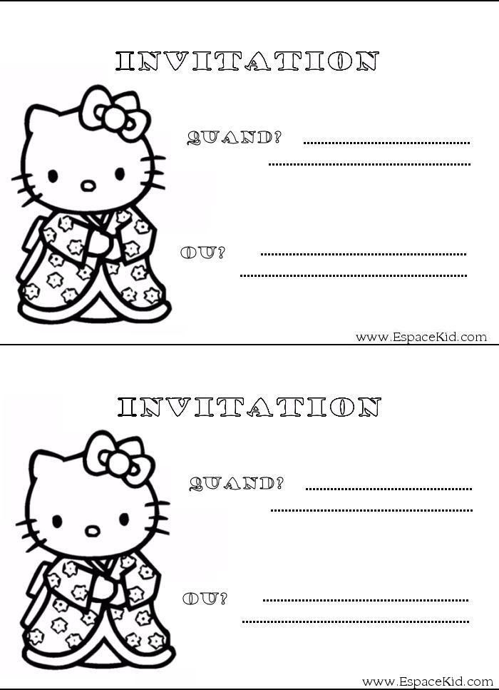 Coloriage Carton D'Invitation Hello Kitty : Coloriages à Coloriage A Imprimer Hello Kitty
