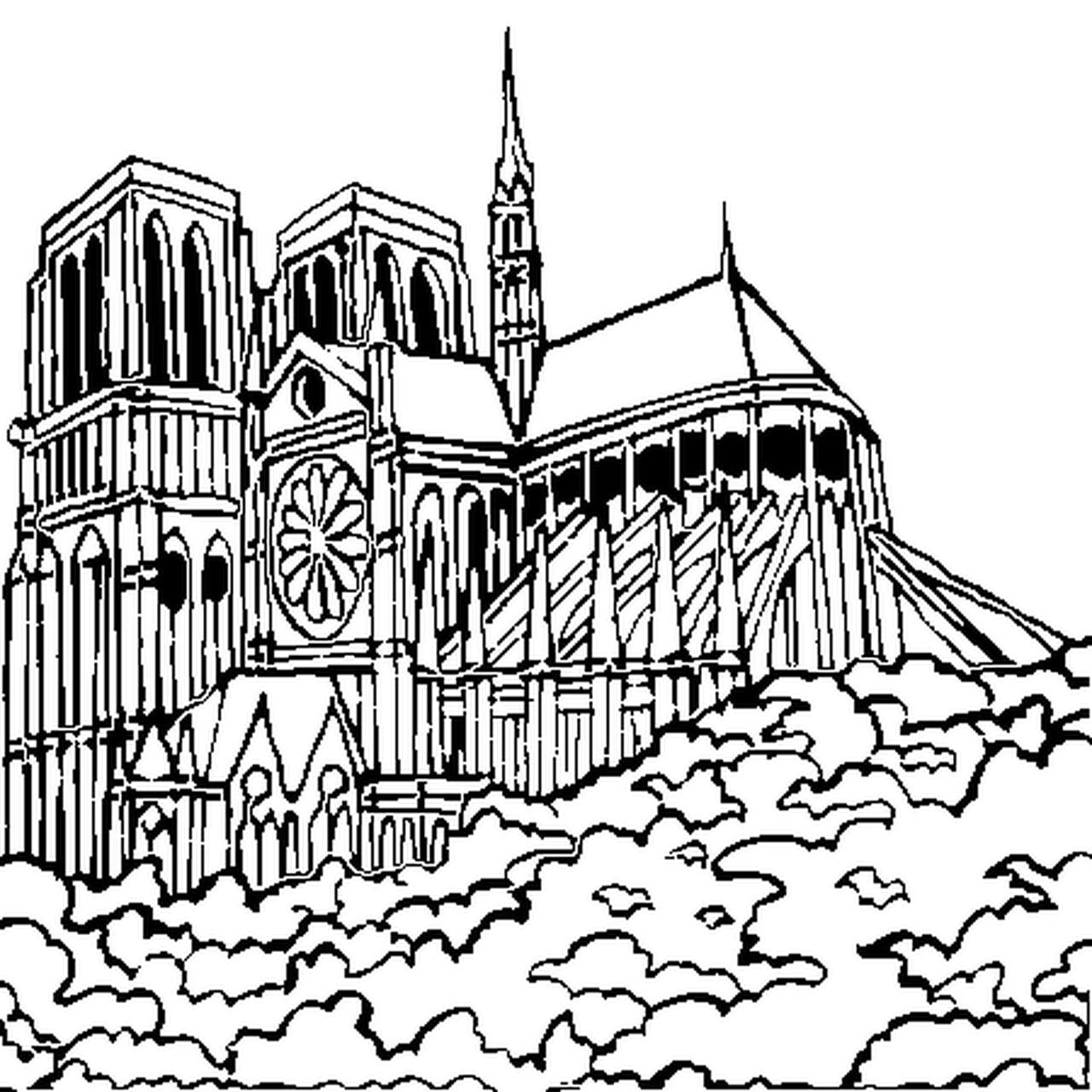 Coloriage Cathedrale - Ohbq intérieur Coloriage Notre Dame De Paris