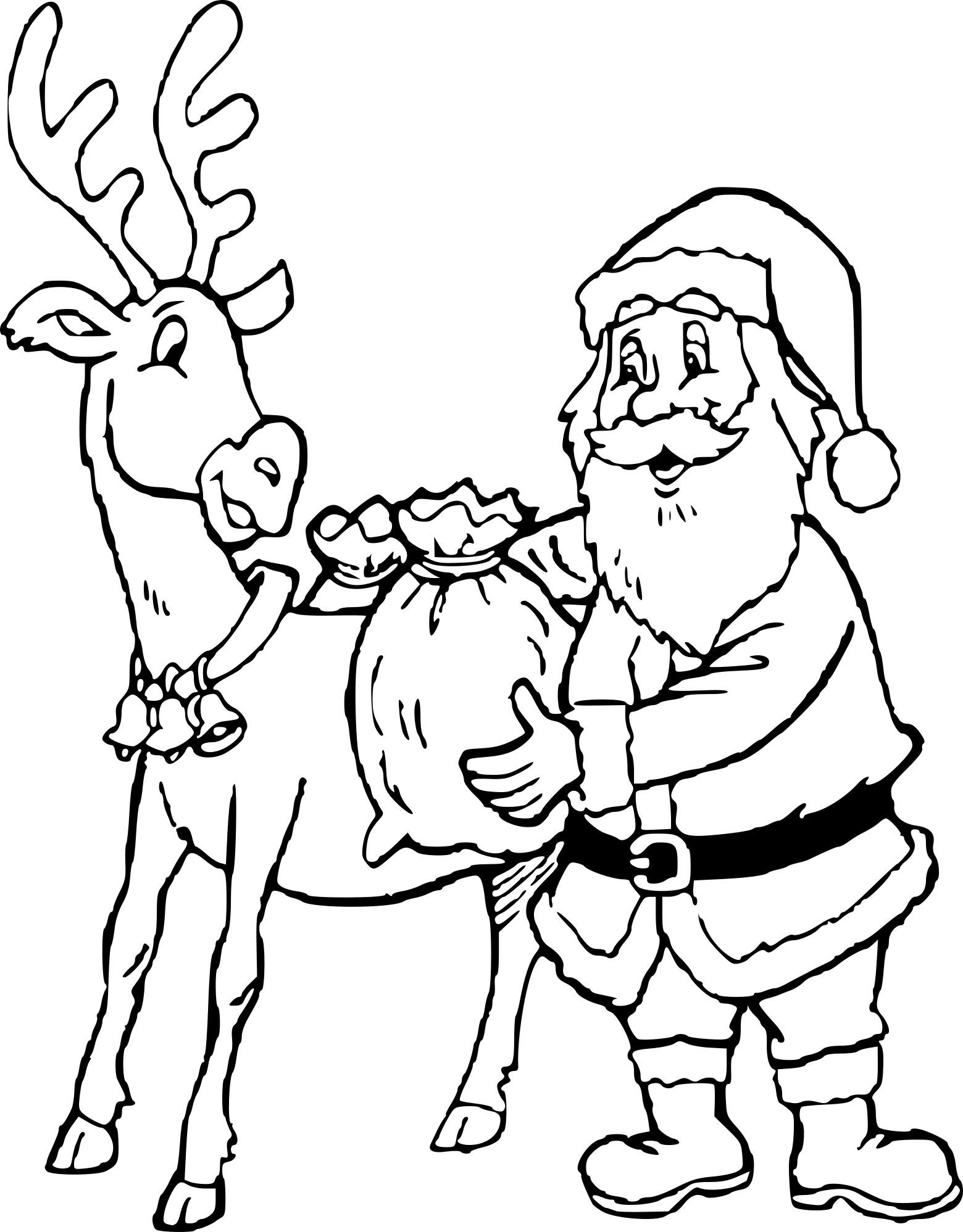 Coloriage Cerf Père Noël À Imprimer Sur Coloriages encequiconcerne Pere Noel A Imprimer Et A Decouper