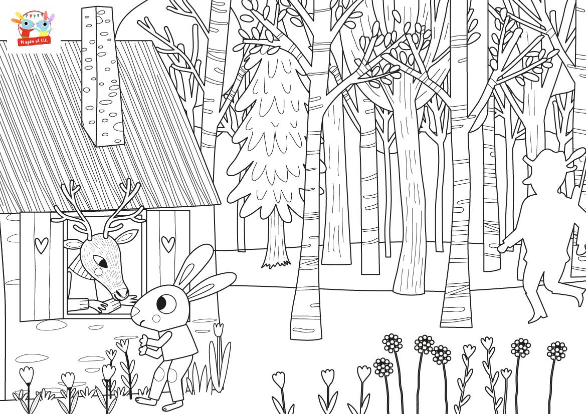 Coloriage Chanson - Dans La Forêt Un Grand Cerf à Un Grand Cerf Dans La Foret