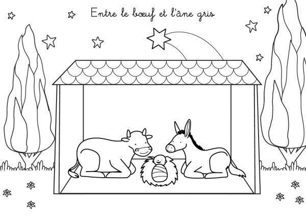 Coloriage Chanson De Noël : Entre Le Boeuf Et L'Âne Gris pour Oi Bientot Ce Sera Noel