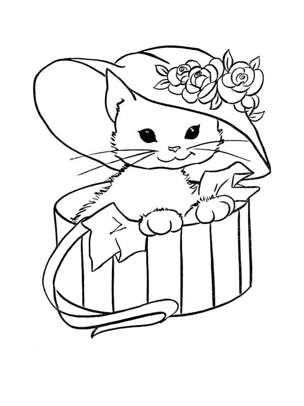 Coloriage Chat Trop Mignon Portant Un Chapeau Dessin destiné Dessin A Imprimer De Chat