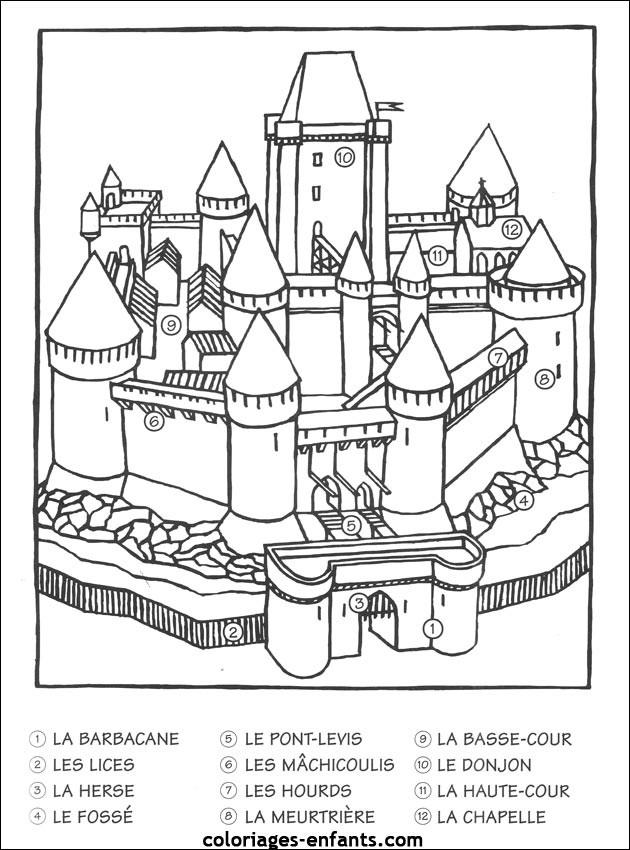 Coloriage Château Numéroté Dessin Gratuit À Imprimer pour Dessin Chateau Moyen Age