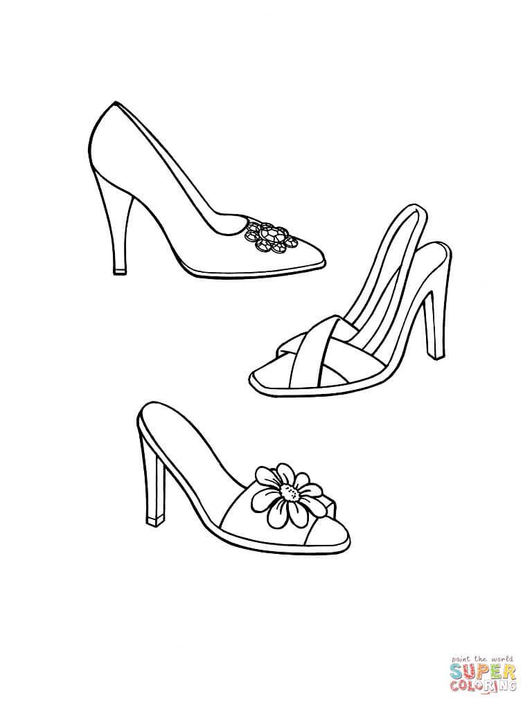 Coloriage - Chaussures À Talon | Coloriages À Imprimer destiné Dessin De Chaussure A Talon