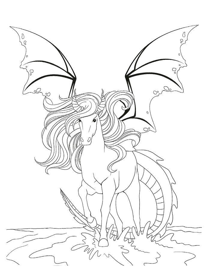Coloriage Cheval-Dragon Fantastique (Avec Images destiné Coloriage Cheval