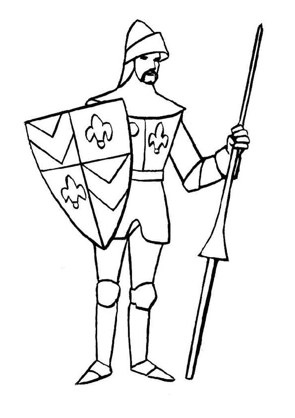 Coloriage Chevalier Britannique Facile Dessin Gratuit À encequiconcerne Coloriage Épée