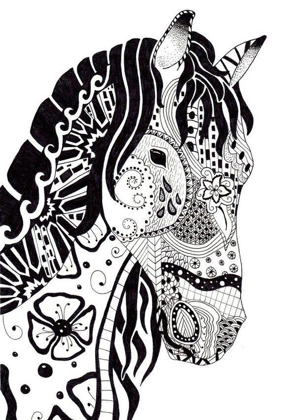 Coloriage Chevaux … | Coloriage Cheval, Coloriage Cheval À dedans Coloriage De Mandala Difficile A Imprimer