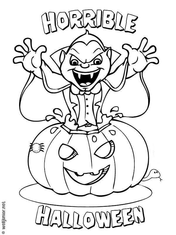 Coloriage Citrouille D'Halloween Et Dracula Dessin Gratuit intérieur Dessin Halloween À Imprimer Gratuit