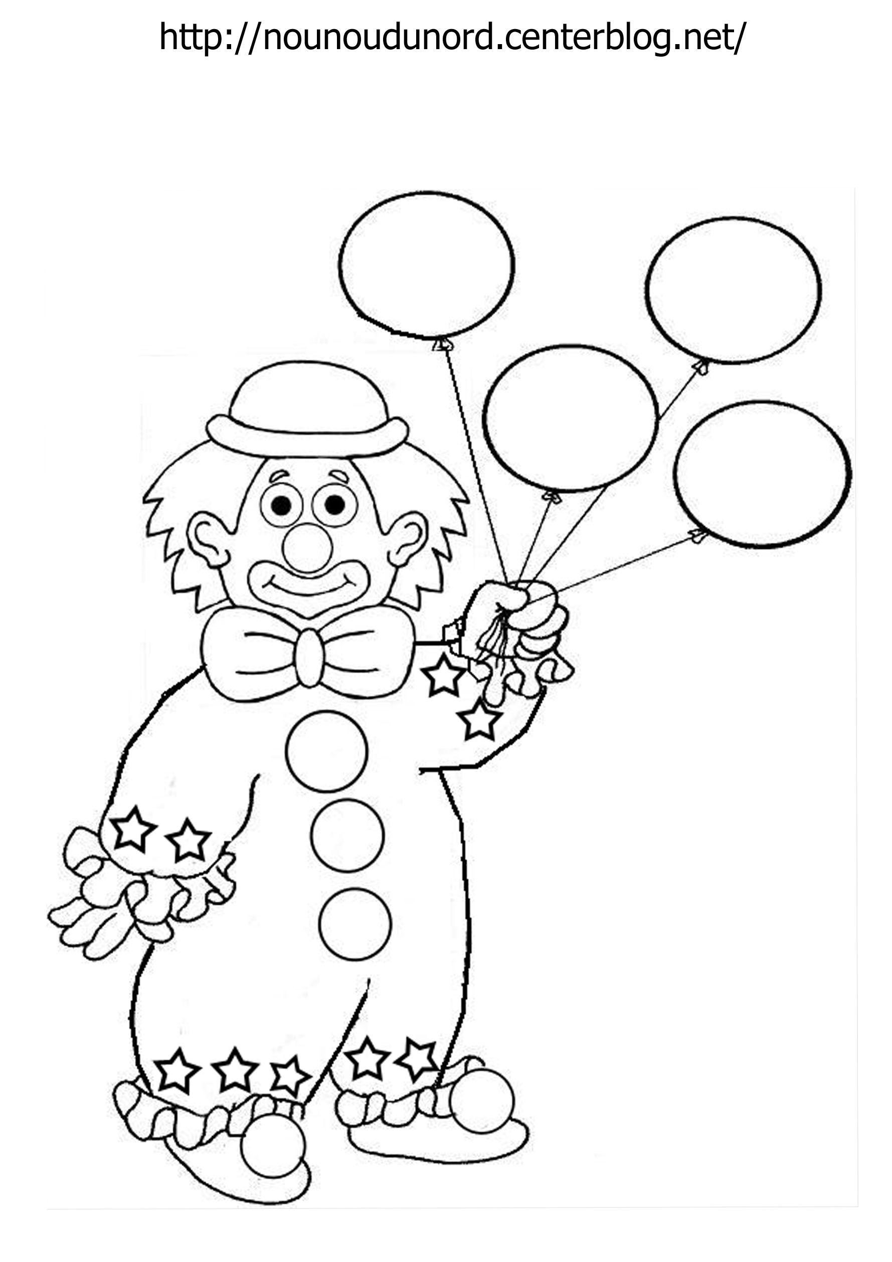 Coloriage Clown Ballon Dessiné Par Nounoudunord encequiconcerne Dessin Ballon Baudruche