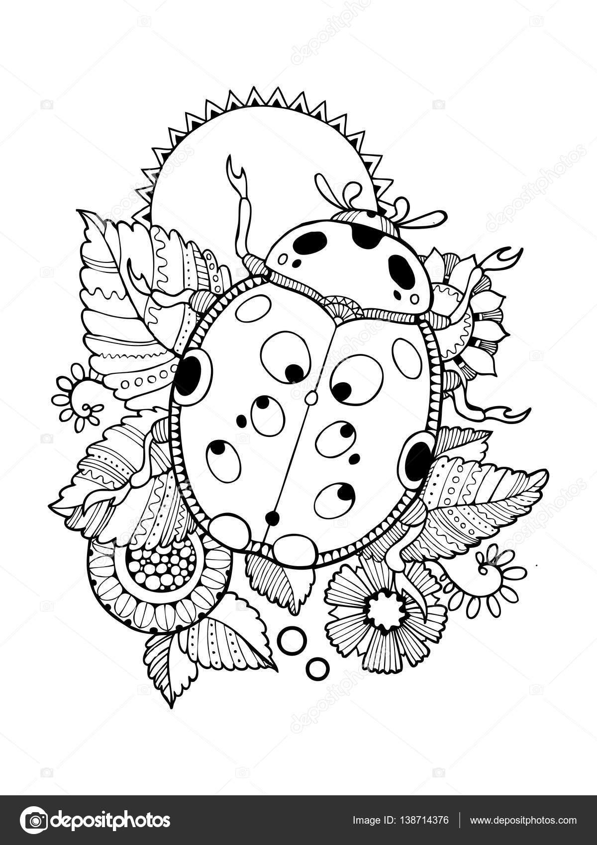 Coloriage Coccinelle Mandala serapportantà Coloriage Coccinelle