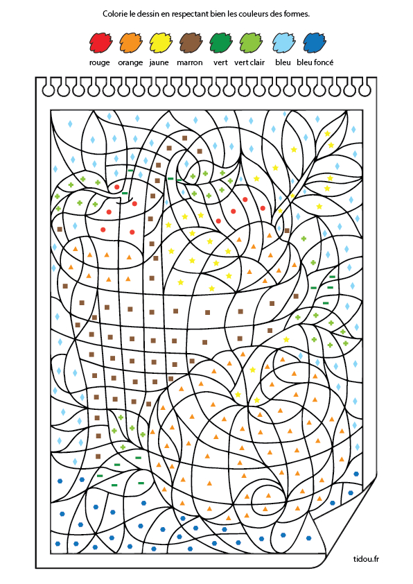 Coloriage Code Fruits Maternelle à Coloriage Numéroté Maternelle