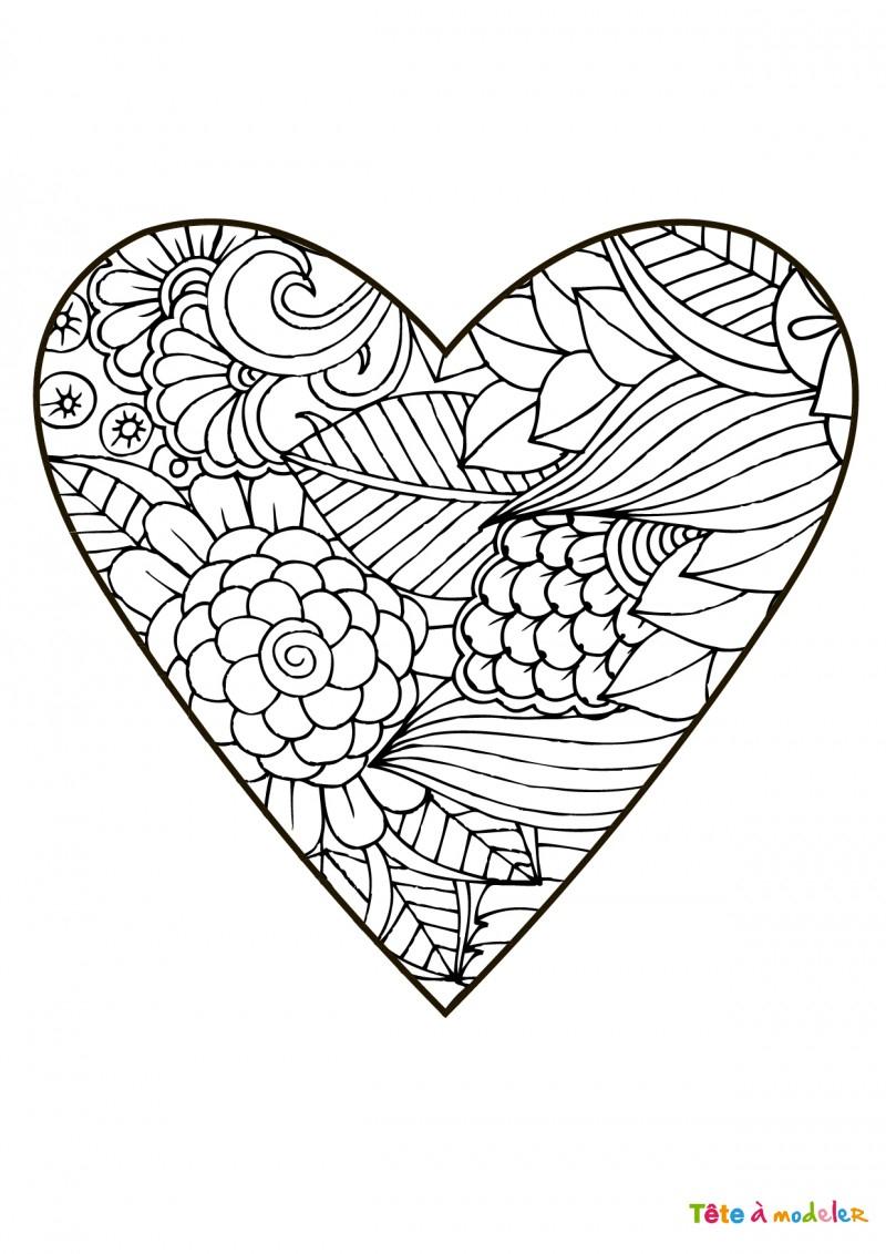 Coloriage Coeur #01 - Un Coloriage De Tête À Modeler avec Coloriage Coeur À Imprimer Gratuit