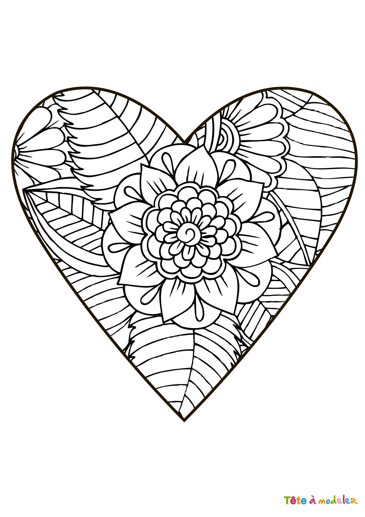 Coloriage Coeur #05 - Un Coloriage De Tête À Modeler serapportantà Dessin A Imprimer Coeur