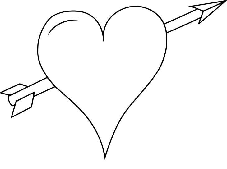 Coloriage Coeur Avec Une Flèche À Imprimer dedans Coloriage Coeur À Imprimer Gratuit