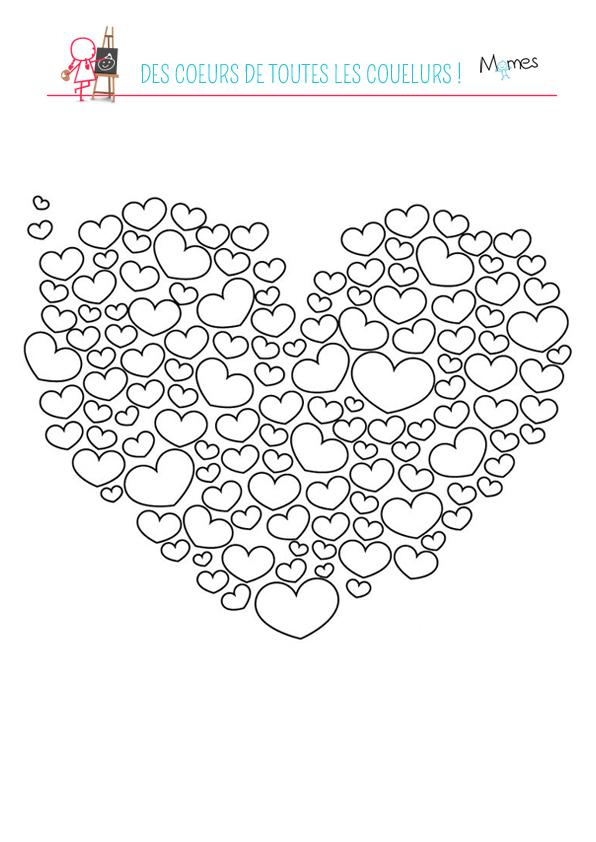 Coloriage Coeurs De Toutes Les Couleurs - Momes dedans Coloriage À Imprimer De Coeur