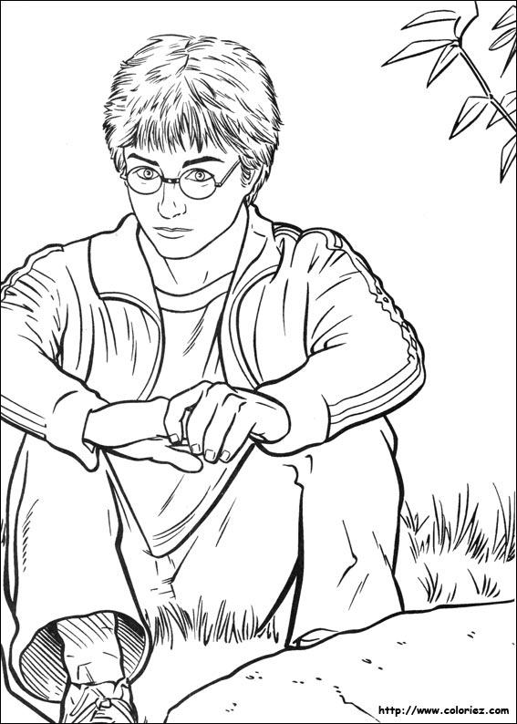 Coloriage - Coloriage Harry Potter Pensif à Coloriage Harry Potter