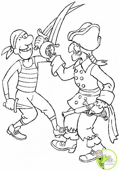 Coloriage Combat De Pirates Dessin Gratuit À Imprimer pour Dessin De Pirate À Imprimer