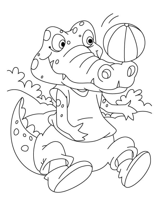 Coloriage Crocodile Et Ballon De Basket Dessin Gratuit À à Coloriage Crocodile A Imprimer Gratuit