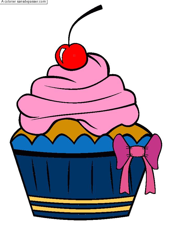 Coloriage Cupcake À La Cerise - Sans Dépasser destiné Cup Cake Dessin