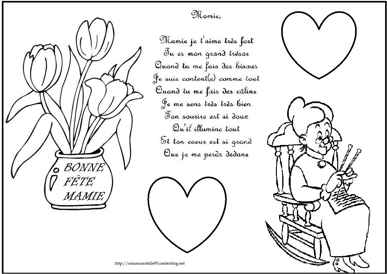 Coloriage D Anniversaire Pour Mamie Poeme Et Coloriage encequiconcerne Coloriage Anniversaire Mamie