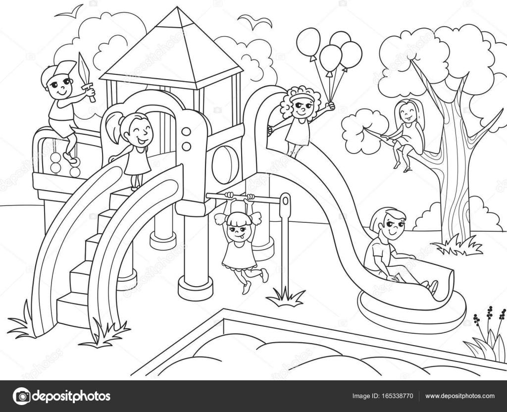 Coloriage D'aire De Jeux Pour Enfants. Illustration destiné Jeux De Dessin Gratuits