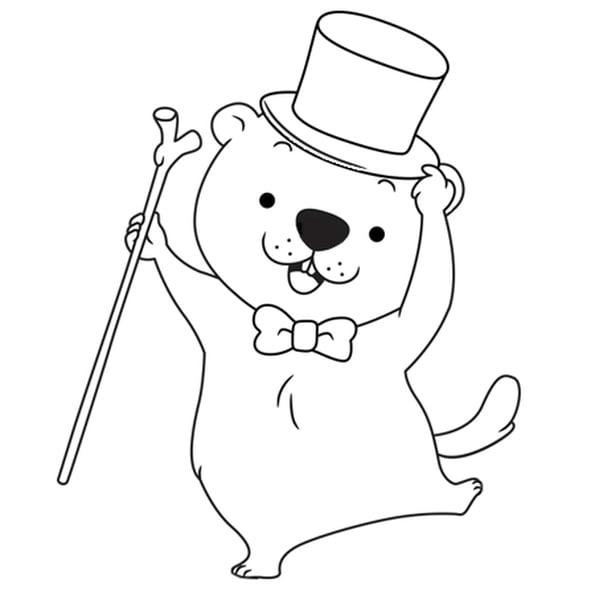 Coloriage Danse Du Jour De La Marmotte En Ligne Gratuit À destiné Dessin De Marmotte