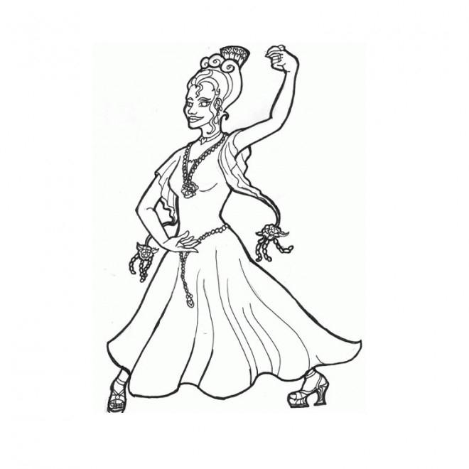 Coloriage Danseuse Espagnole Dessin Gratuit À Imprimer destiné Dessin Animé Danseuse