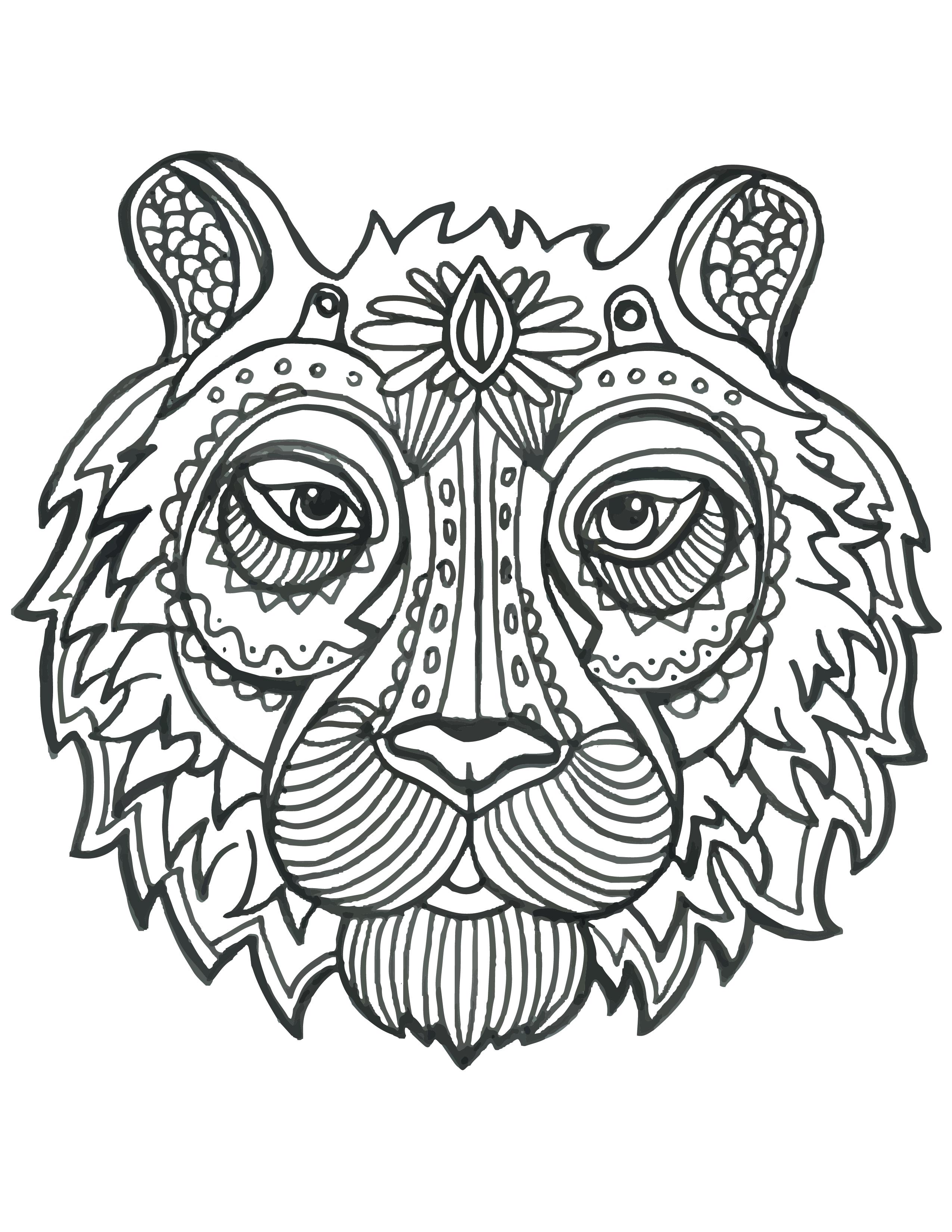 Coloriage De Animaux Tete De Tigre À Imprimer - Artherapie.ca pour Mandala Animaux À Imprimer Gratuit