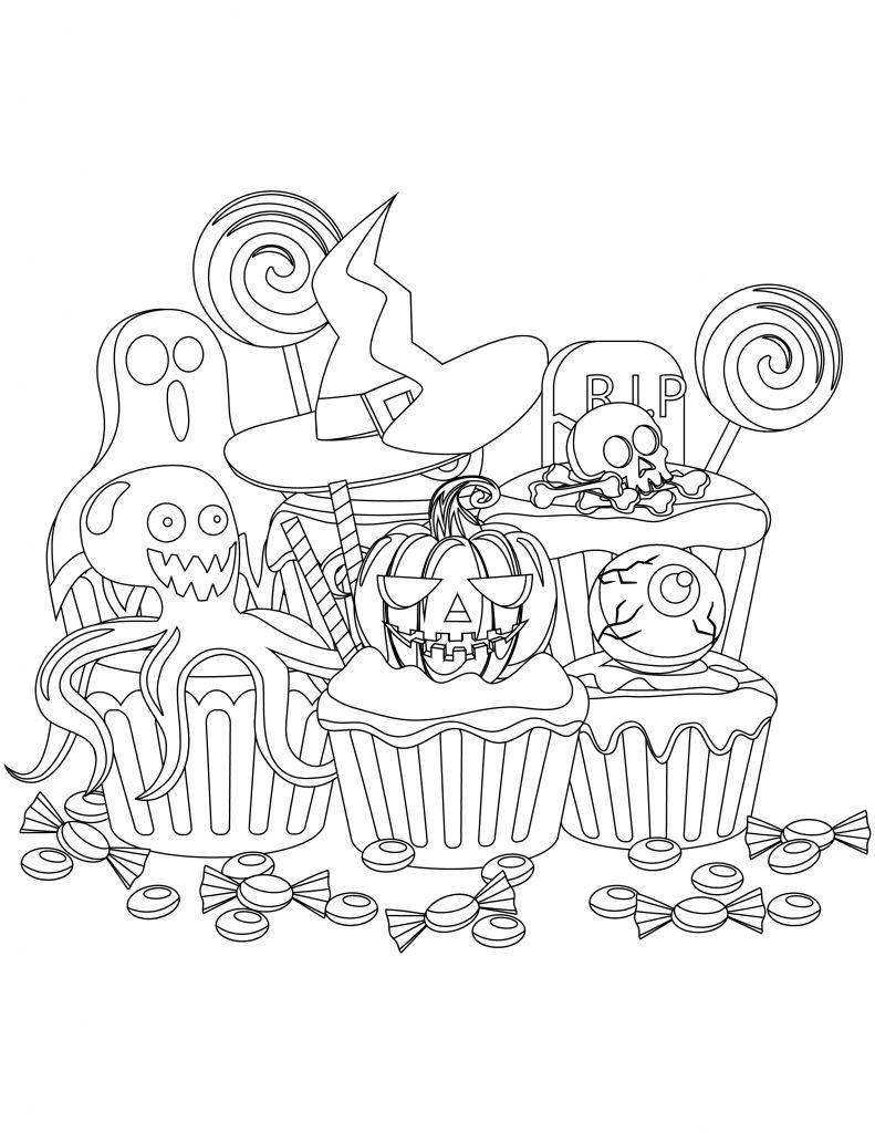 Coloriage De Cupcake Halloween À Imprimer - Artherapie.ca intérieur Coloriage De Cupcake